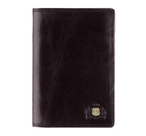 Мужской кожаный кошелек с наклонными отделениями, черный, 39-1-177-1, Фотография 1