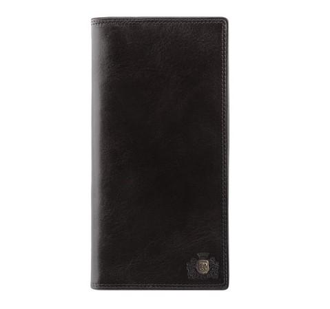 Женский кожаный кошелек с гербом без застежки, черный, 39-1-335-1, Фотография 1