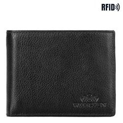 Мужской кожаный кошелек с вкладышем, черный, 21-1-039-10L, Фотография 1