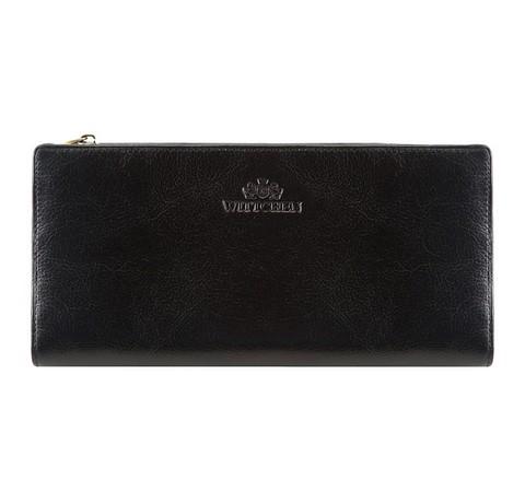 Женский стильный кожаный кошелек на кнопке, черный, 21-1-500-1, Фотография 1