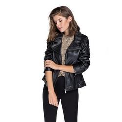 Кожаная байкерская женская куртка из овечьей кожи, черный, 92-09-801-1-L, Фотография 1
