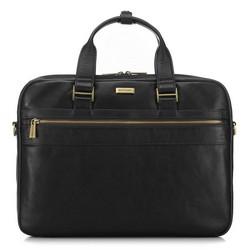Кожаная классическая сумка для ноутбука, черный, 91-3U-303-1, Фотография 1