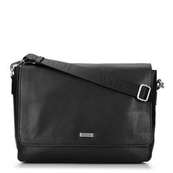 Мужская сумка для ноутбука из мягкой кожи с клапаном, черный, 92-4U-301-1, Фотография 1