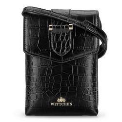 Маленькая кожаная сумка через плечо с текстурой кожи крокодила, черный, 92-2E-652-1C, Фотография 1