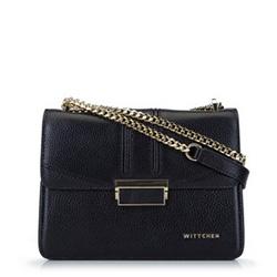 Кожаная сумка через плечо с цепочкой, черный, 93-4E-624-1, Фотография 1