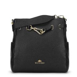 Кожаная сумка с декоративной пряжкой, черный, 91-4E-601-1, Фотография 1