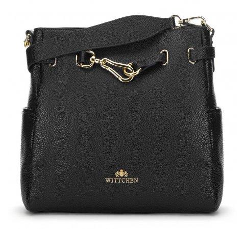 Кожаная сумка с декоративной пряжкой, черный, 91-4E-601-9, Фотография 1