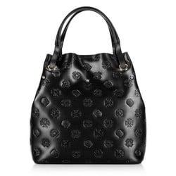 Кожаная сумка-шоппер с монограммой, черный, 92-4E-695-1, Фотография 1