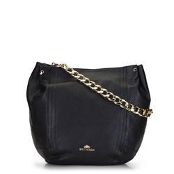 Кожаная сумка-шоппер с цепочкой с большими звеньями, черный, 92-4E-648-1, Фотография 1