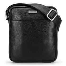 Маленькая мужская сумка через плечо из мягкой зернистой кожи, черный, 92-4U-309-1, Фотография 1