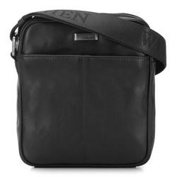 Мужская кожаная сумка через плечо с карманом, черный, 91-4U-311-1, Фотография 1
