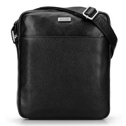 Мужская сумка через плечо из мягкой зернистой кожи, черный, 92-4U-307-1, Фотография 1