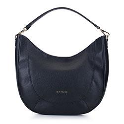 Кожаная сумка - полумесяц, черный, 93-4E-608-1, Фотография 1