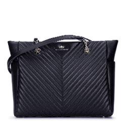 Кожаная сумка-шоппер наискось стеганая, черный, 93-4E-603-1, Фотография 1