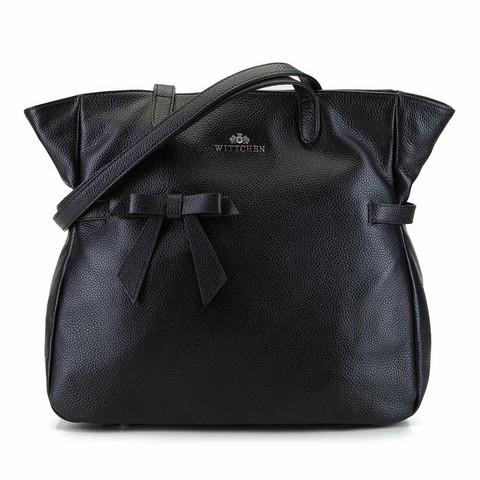 Кожаная сумка-шоппер с бантом, черный, 92-4E-309-1, Фотография 1