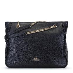 Кожаная сумка-шоппер с цепочкой на ручках, черный, 93-4E-602-1, Фотография 1