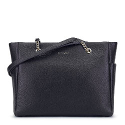 Кожаная сумка-шоппер с цепочкой на ручках, черный, 93-4E-605-1, Фотография 1