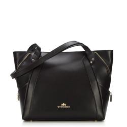 Кожаная сумка-шоппер с декоративной застежкой-молнией, черный, 92-4E-646-10, Фотография 1