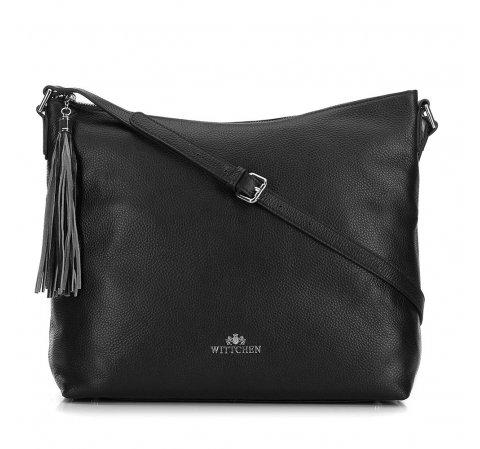 Кожаная сумка-шоппер с кисточкой, черный, 29-4E-008-40, Фотография 1