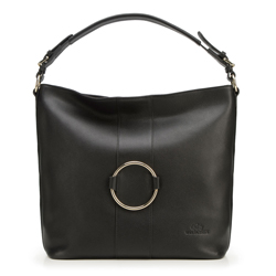 Кожаная сумка-шоппер с кольцом, черный, 92-4E-627-1, Фотография 1