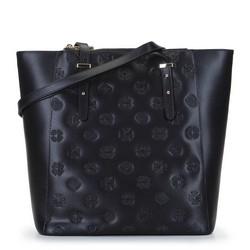 Кожаная сумка-шоппер с тиснением монограмм, черный, 92-4E-696-1, Фотография 1