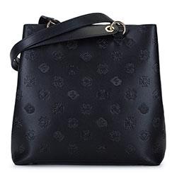 Кожаная сумка-шоппер с монограммой высокая, черный, 93-4E-693-1, Фотография 1