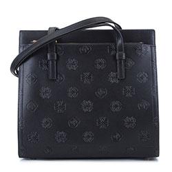 Кожаная сумка-сундук с монограммой, черный, 93-4E-691-1, Фотография 1