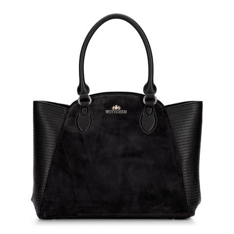 Кожаная сумка-тоут с замшевой вставкой, черный, 92-4E-618-1, Фотография 1
