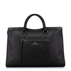 Кожаная сумка в стиле ретро, черный, 93-4E-618-1, Фотография 1