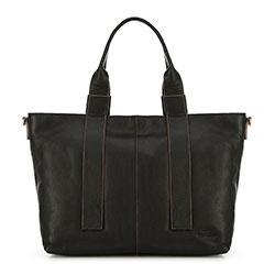 Кожаная трапециевидная сумка с удлиненными ручками, черный, 91-4E-317-1, Фотография 1