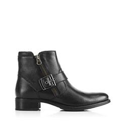 Кожаные ботинки с пряжкой, черный, 91-D-302-1-38, Фотография 1