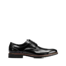 Кожаные туфли к костюму с перфорированным узором, черный, 92-M-909-1-39, Фотография 1