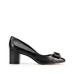 Кожаные туфли-лодочки на каблуке с пряжкой, черный, 93-D-750-1-39, Фотография 1