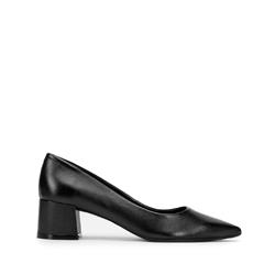 Кожаные туфли-лодочки с острым носом на каблуке, черный, 93-D-751-1-37, Фотография 1