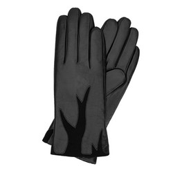 Женские кожаные перчатки с замшевой вставкой, черный, 44-6-525-1-S, Фотография 1