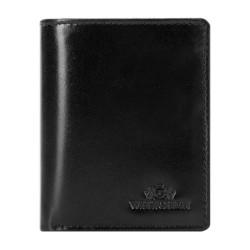 Кожаный кошелек с логотипом, черный, 26-1-435-1, Фотография 1