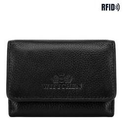 Кожаный кошелек унисекс на кнопке, черный, 21-1-068-10L, Фотография 1