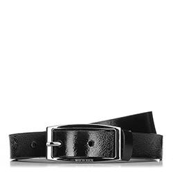 Кожаный лакированный женский ремень, черный, 91-8D-308-1-XL, Фотография 1