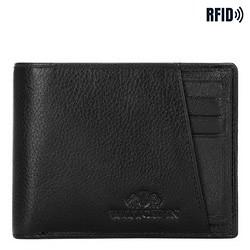 Кожаный мужской кошелек с косым разрезом, черный, 21-1-267-10L, Фотография 1