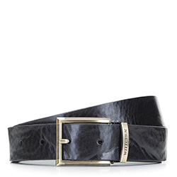 Ремень мужской винтажный кожаный, черный, 92-8M-361-1-10, Фотография 1