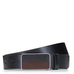 Мужской кожаный ремень с полной пряжкой, черный, 92-8M-351-1-11, Фотография 1