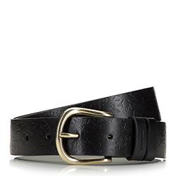 Женский кожаный ремень с цветочным тиснением, черный, 92-8D-311-1-L, Фотография 1