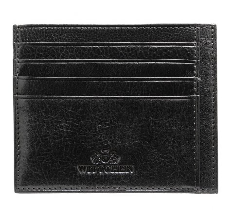 Кожаная визитница в минималистском стиле, черный, 21-2-030-44, Фотография 1