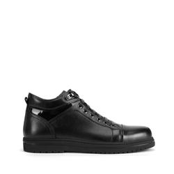 Кроссовки мужские кожаные до щиколотки, черный, 93-M-907-1-44, Фотография 1