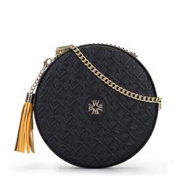 Круглая кожаная сумка через плечо - лимитированная серия, черный, 92-4E-662-1, Фотография 1
