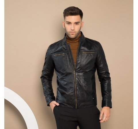 Мужская кожаная куртка, черный, 91-09-250-1-S, Фотография 1