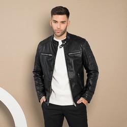 Мужская кожаная мотоциклетная куртка, черный, 91-09-652-1-M, Фотография 1