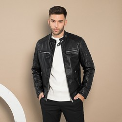 Мужская кожаная мотоциклетная куртка, черный, 91-09-652-1-XL, Фотография 1