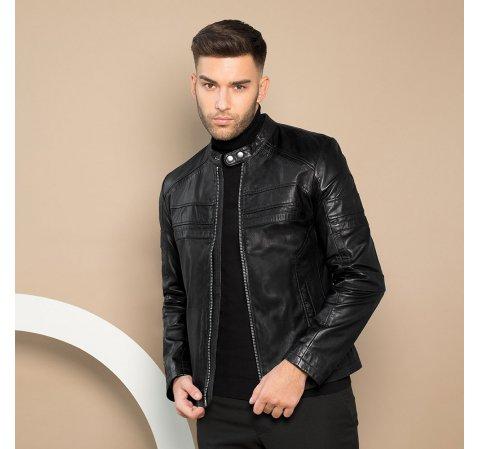 Мужская кожаная куртка на молнии, черный, 91-09-653-1-L, Фотография 1