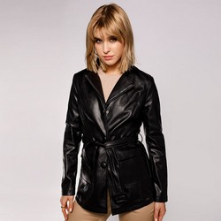 Куртка женская длинная с пуговицами, черный, 92-9P-105-1-M, Фотография 1